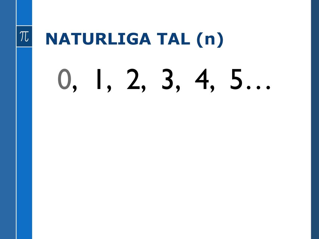 NATURLIGA TAL (n) 0, 1, 2, 3, 4, 5…