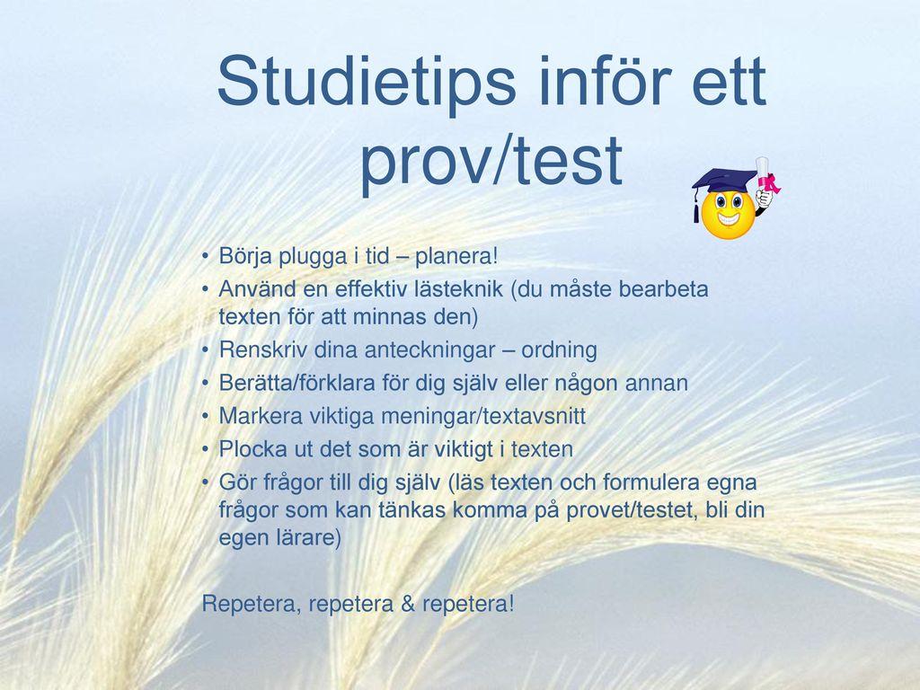 Studietips inför ett prov/test