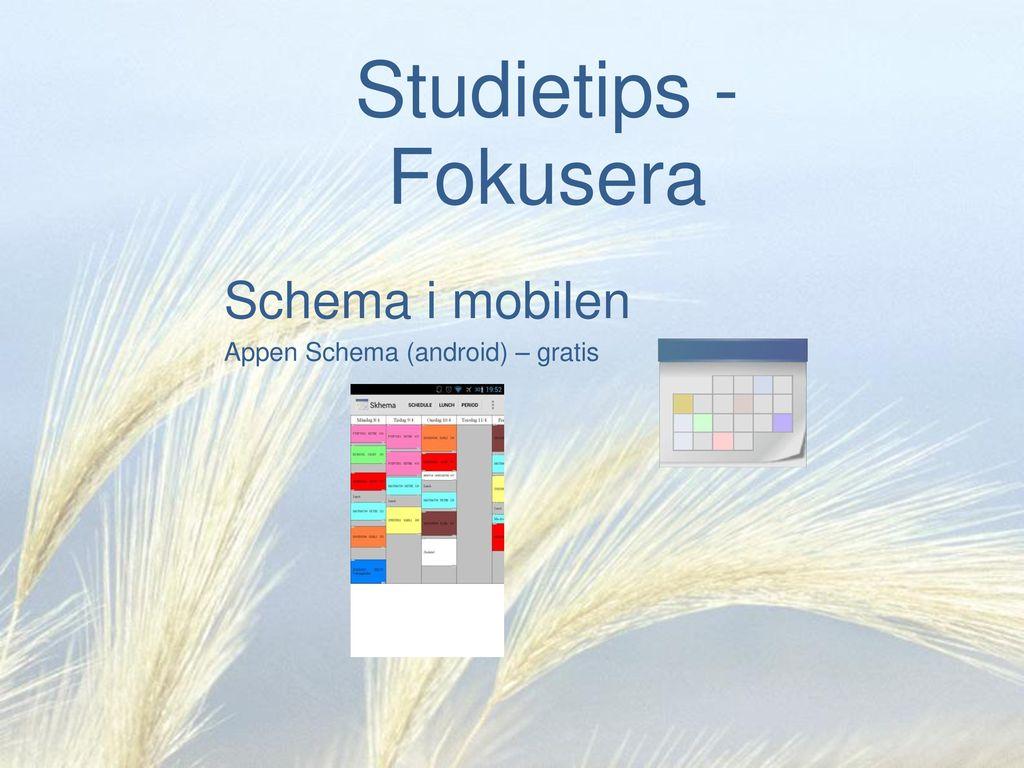 Schema i mobilen Appen Schema (android) – gratis
