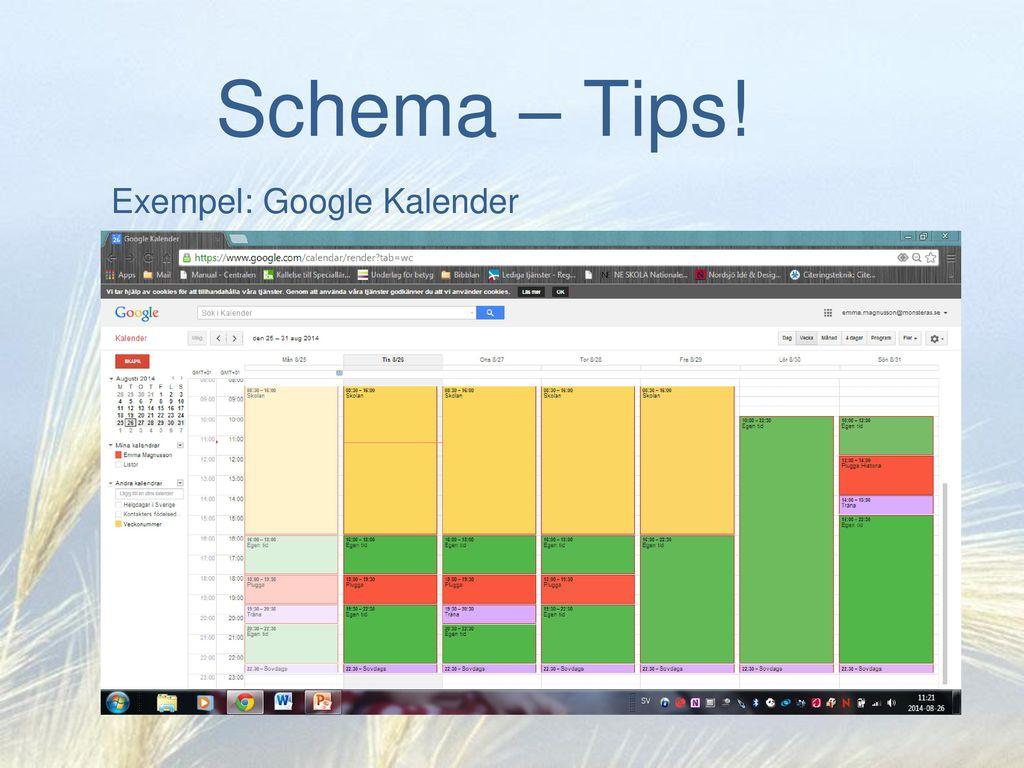 Exempel: Google Kalender