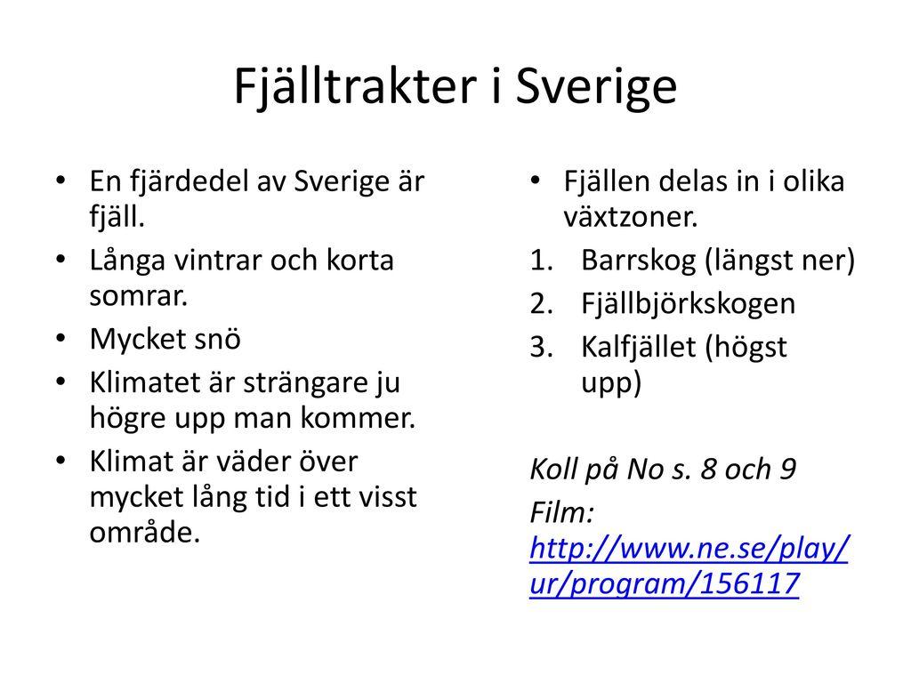 Fjälltrakter i Sverige