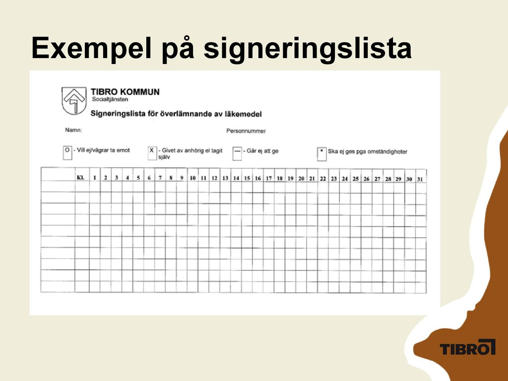 Exempel på signeringslista