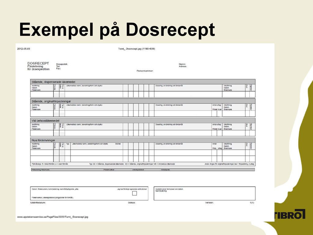 Exempel på Dosrecept