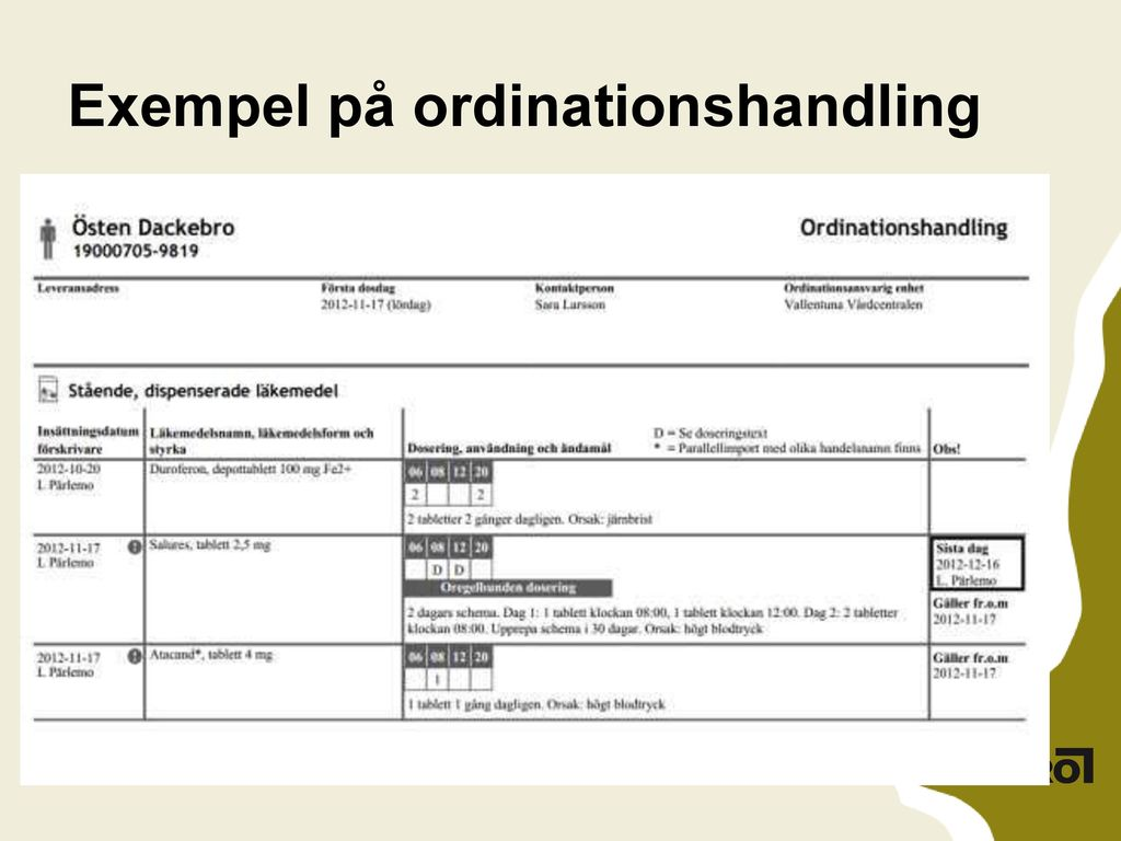 Exempel på ordinationshandling