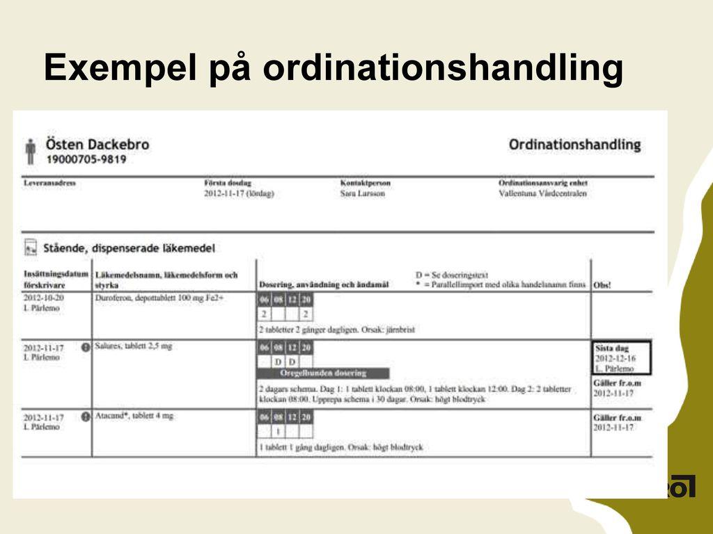Exempel på ordinationshandling