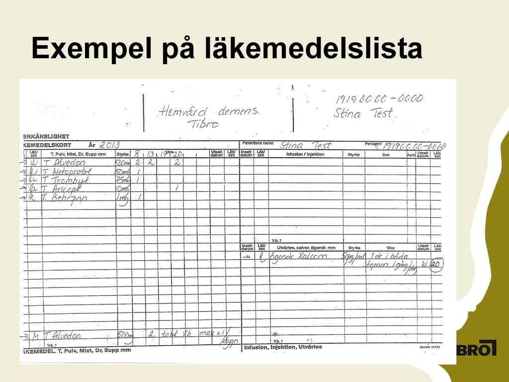 Exempel på läkemedelslista