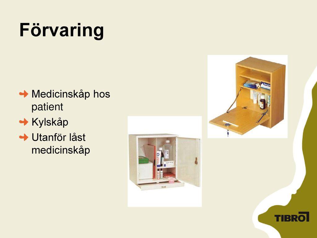 Förvaring Medicinskåp hos patient Kylskåp Utanför låst medicinskåp