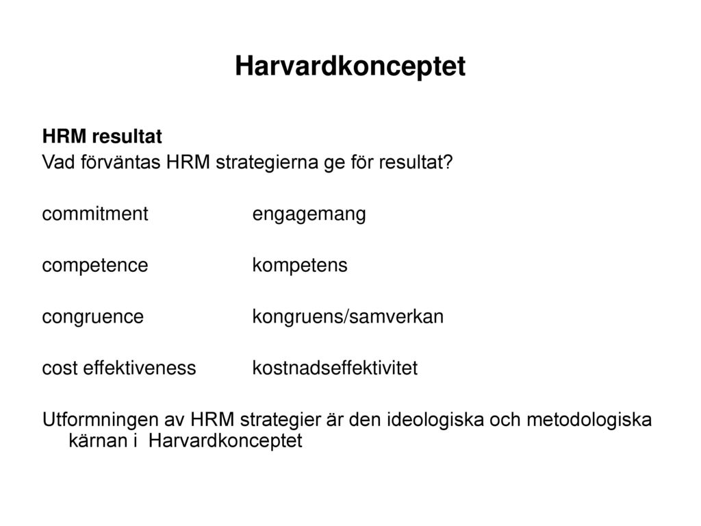 Harvardkonceptet HRM resultat