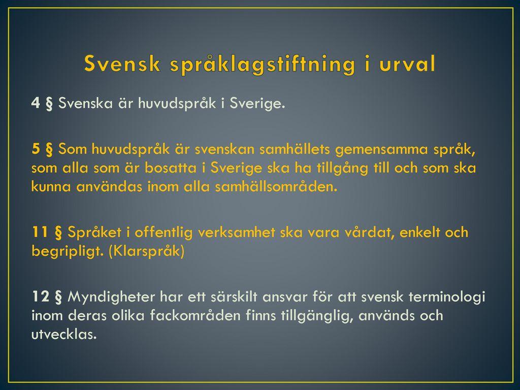 Svensk språklagstiftning i urval