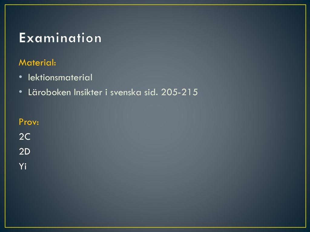 Examination Material: lektionsmaterial