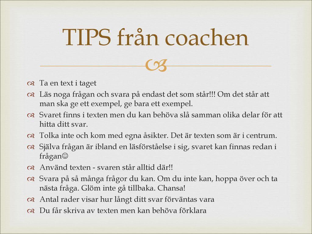 TIPS från coachen Ta en text i taget