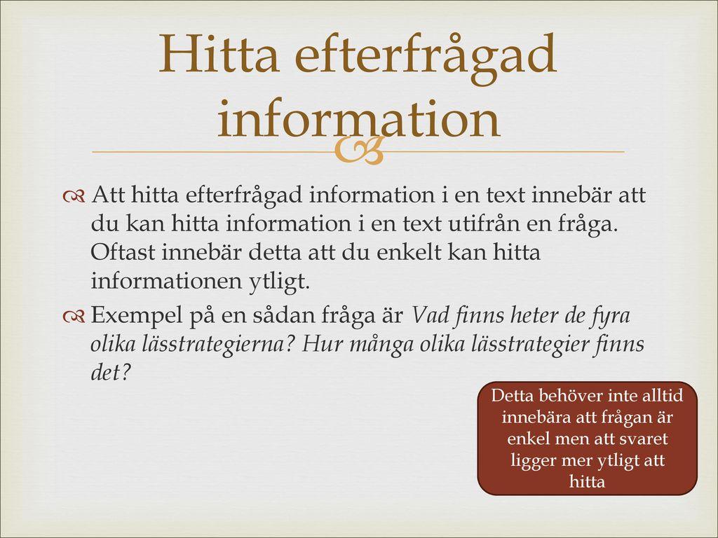 Hitta efterfrågad information