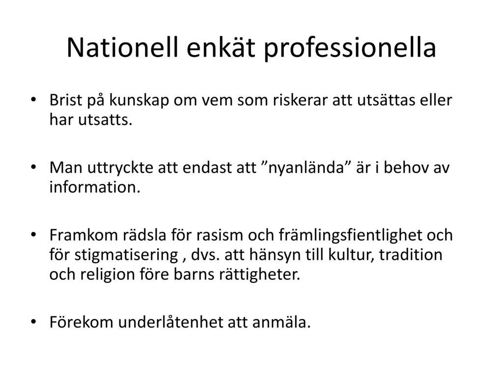 Nationell enkät professionella