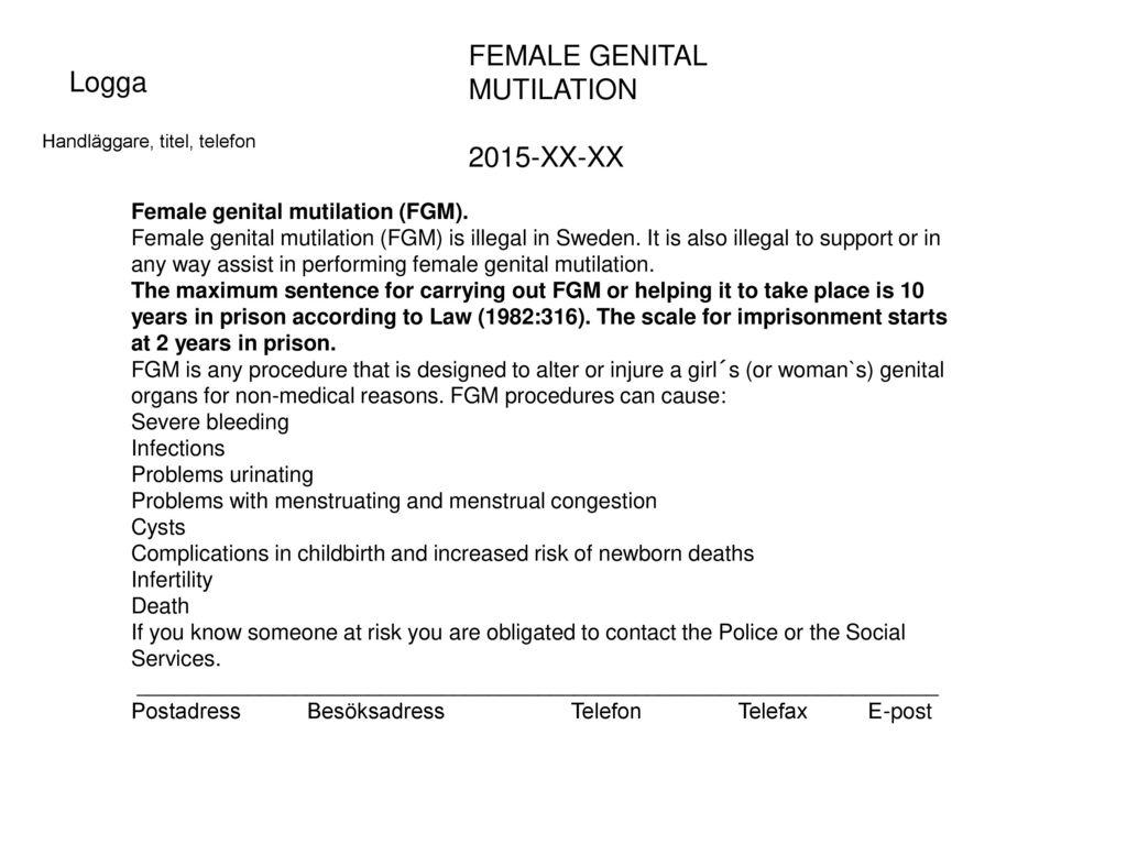 FEMALE GENITAL MUTILATION Logga 2015-XX-XX