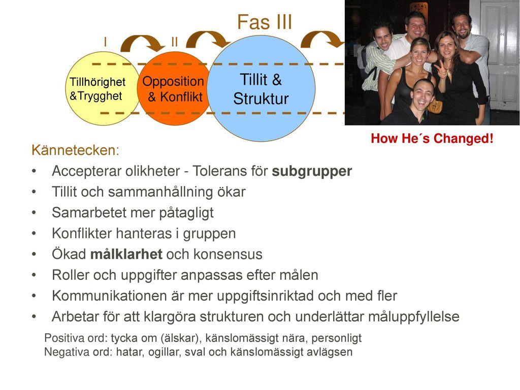 Fas III Tillit & Struktur Kännetecken:
