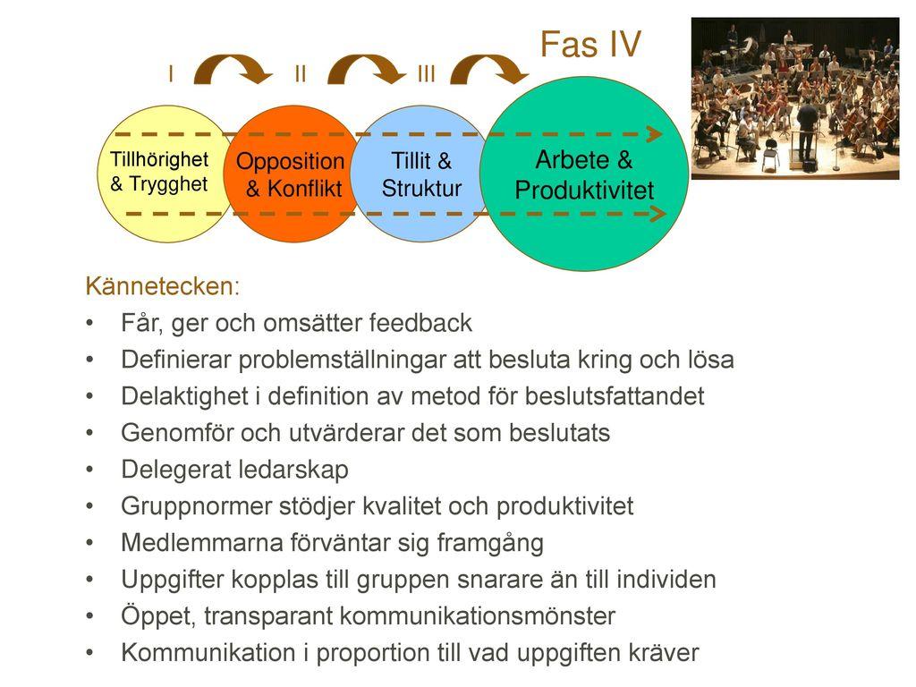 Fas IV Arbete & Produktivitet Kännetecken: