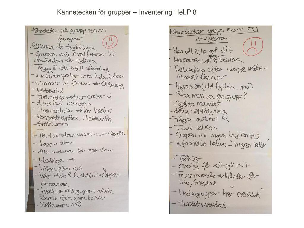 Kännetecken för grupper – Inventering HeLP 8