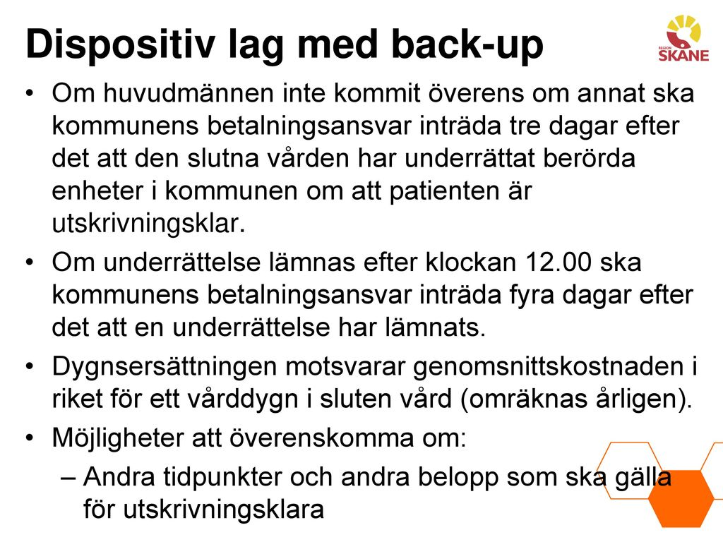 Dispositiv lag med back-up
