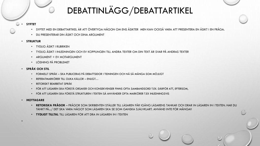 Debattinlägg/debattartikel