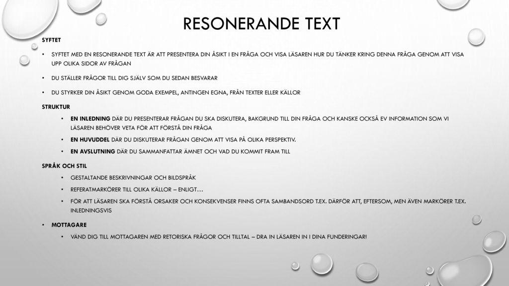 Resonerande text Syftet