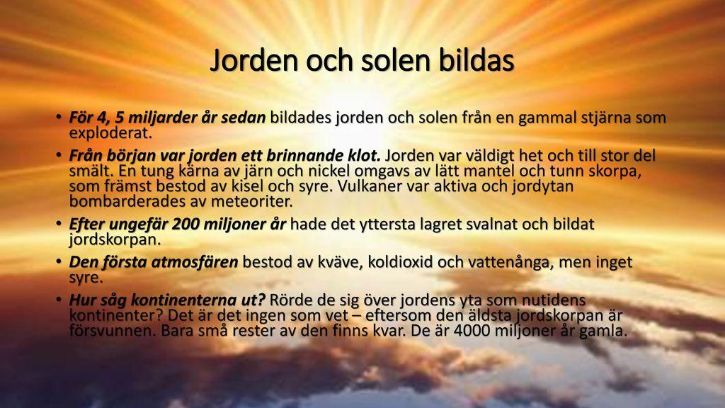 Jorden och solen bildas