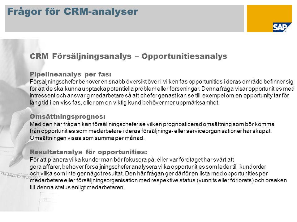 Frågor för CRM-analyser