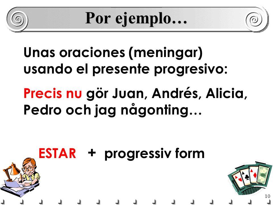 Por ejemplo… Unas oraciones (meningar) usando el presente progresivo: