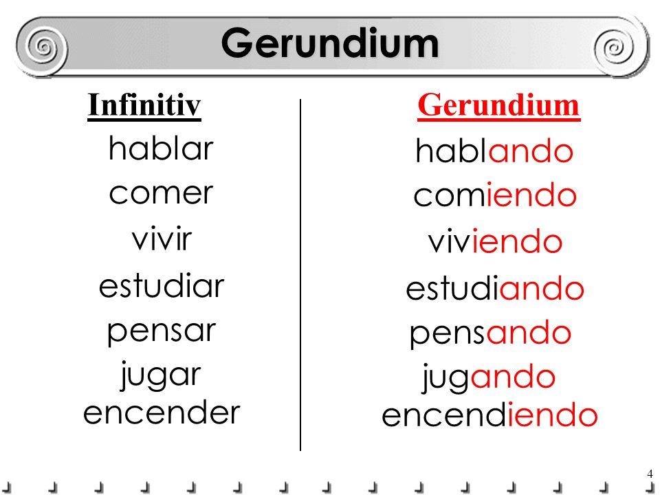 Gerundium Infinitiv Gerundium hablar hablando comer comiendo vivir