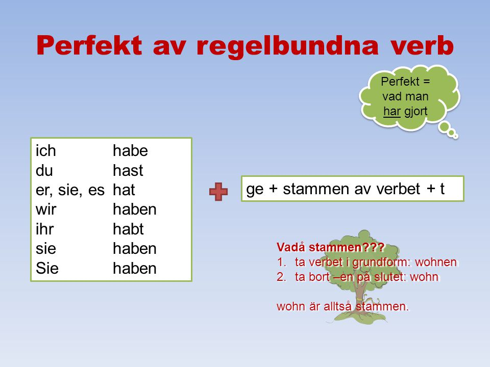 Perfekt av regelbundna verb