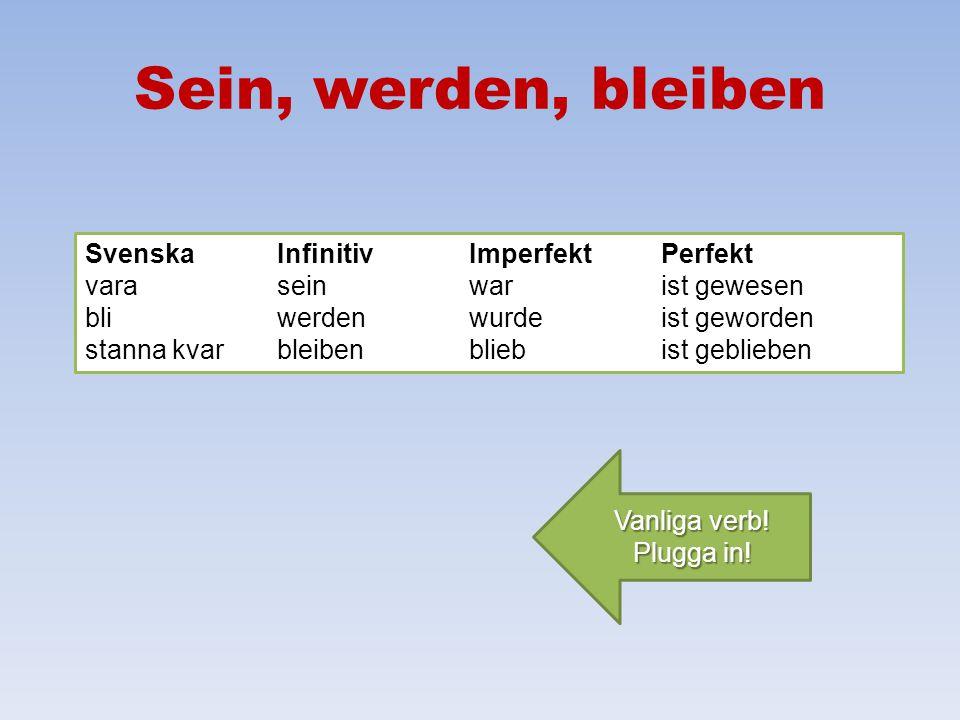 Sein, werden, bleiben Svenska Infinitiv Imperfekt Perfekt