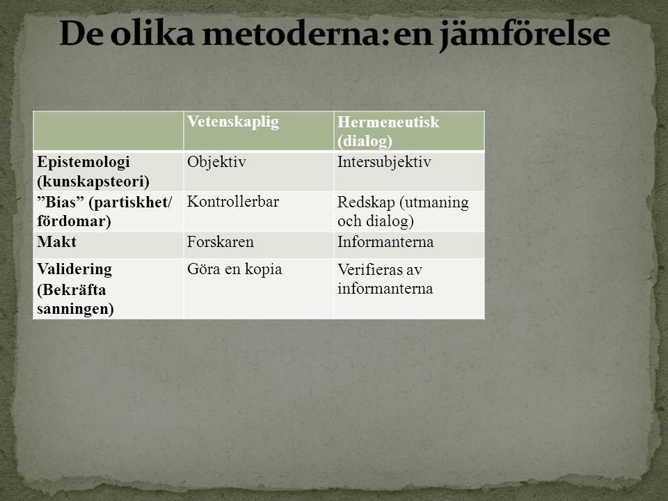 De olika metoderna: en jämförelse