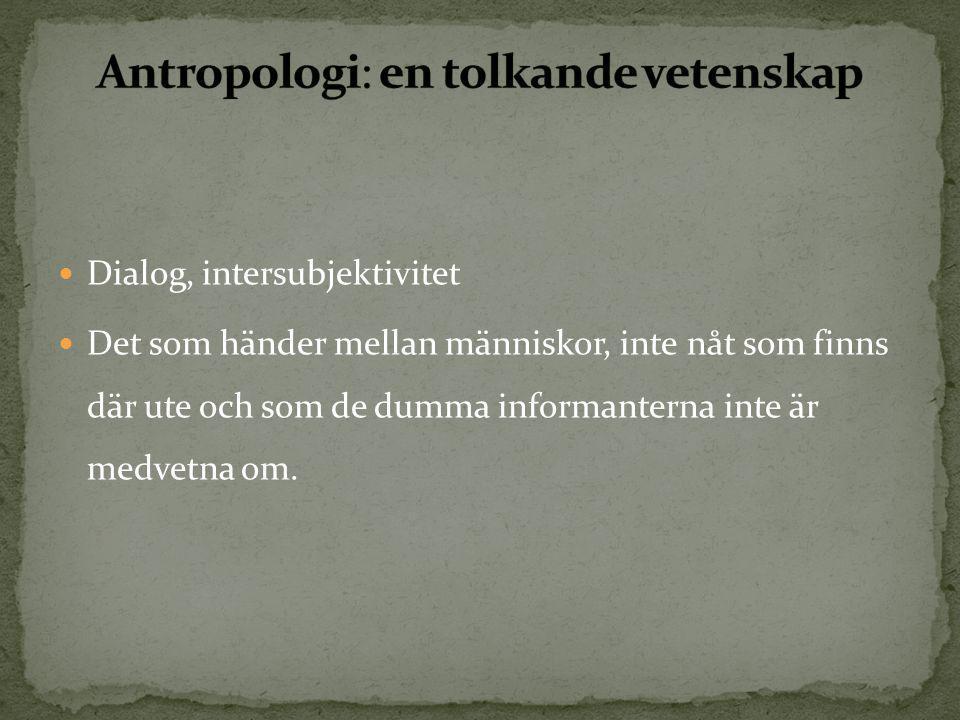 Antropologi: en tolkande vetenskap