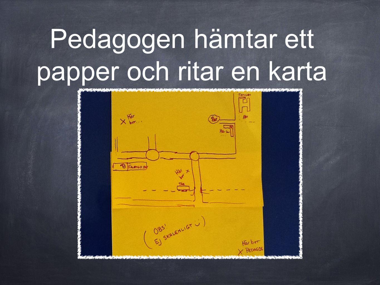 Pedagogen hämtar ett papper och ritar en karta