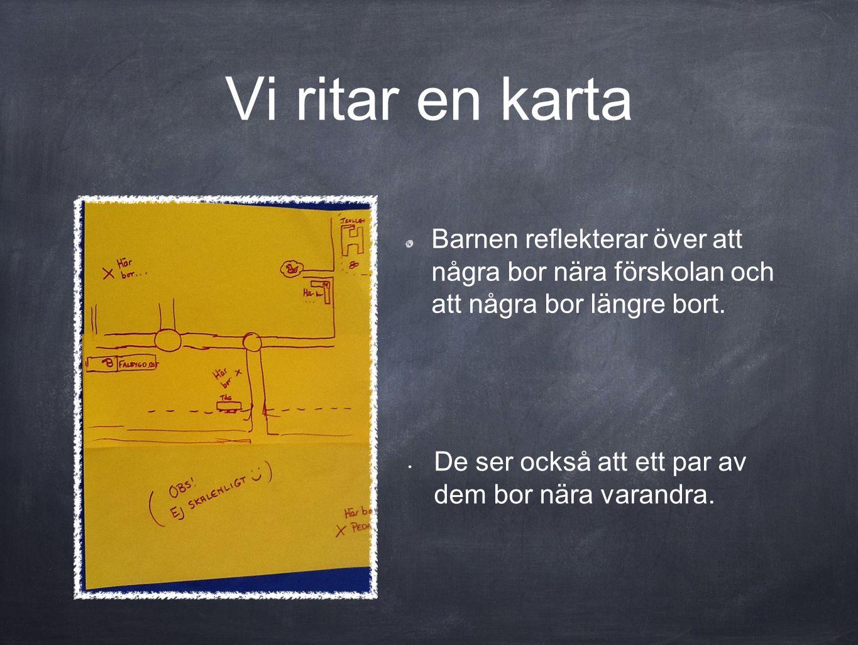 Vi ritar en karta Barnen reflekterar över att några bor nära förskolan och att några bor längre bort.