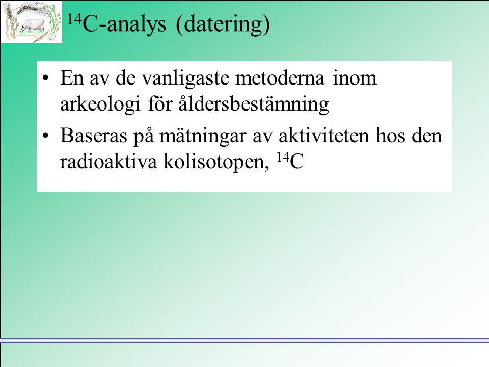 14C-analys (datering) En av de vanligaste metoderna inom arkeologi för åldersbestämning.