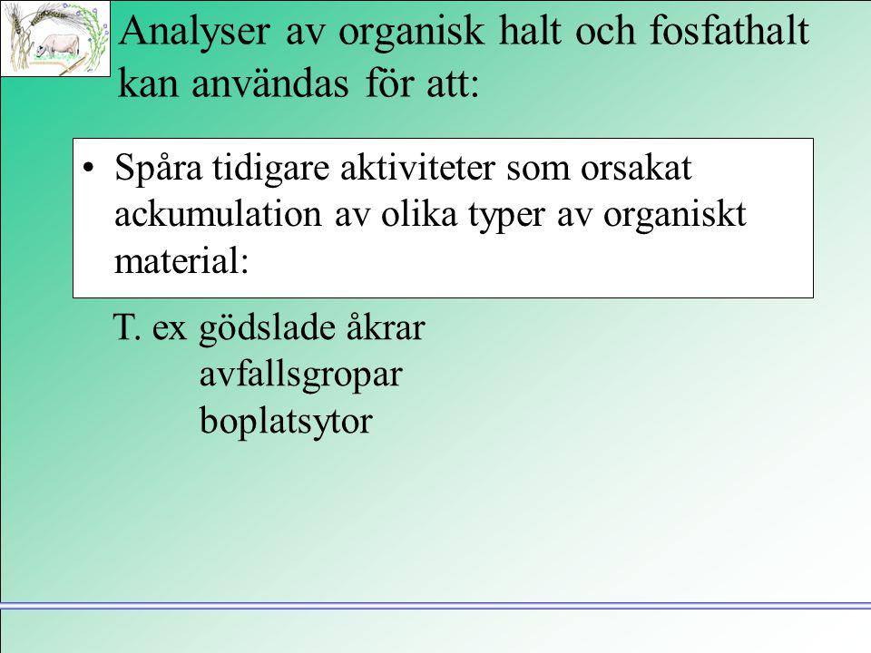 Analyser av organisk halt och fosfathalt kan användas för att: