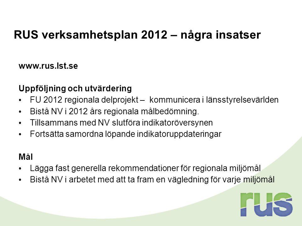 RUS verksamhetsplan 2012 – några insatser