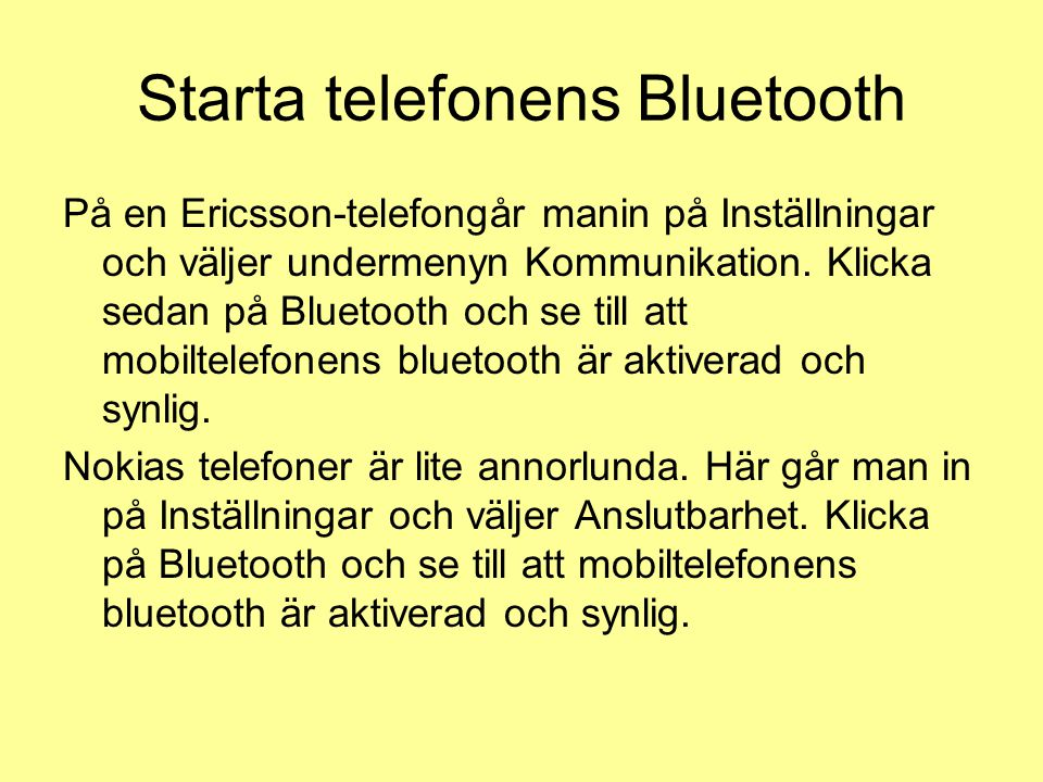Starta telefonens Bluetooth