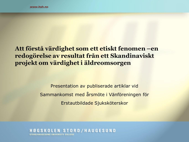 Presentation av publiserade artiklar vid