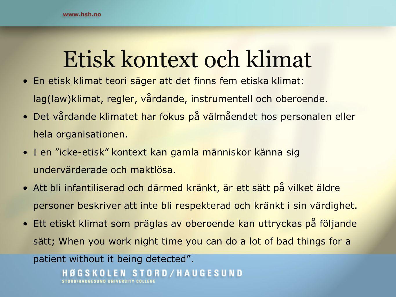 Etisk kontext och klimat