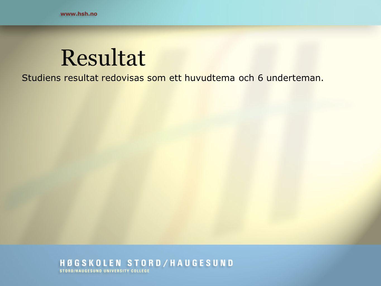 Resultat Studiens resultat redovisas som ett huvudtema och 6 underteman.