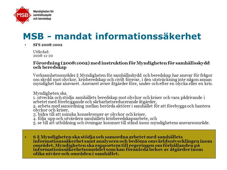 MSB - mandat informationssäkerhet
