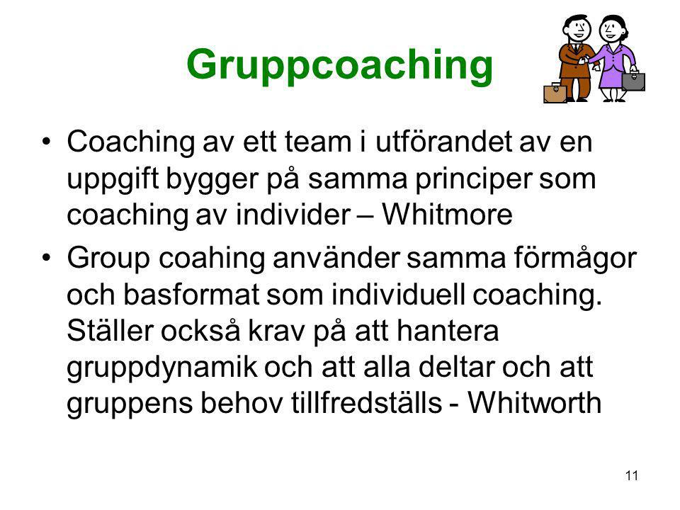 Gruppcoaching Coaching av ett team i utförandet av en uppgift bygger på samma principer som coaching av individer – Whitmore.