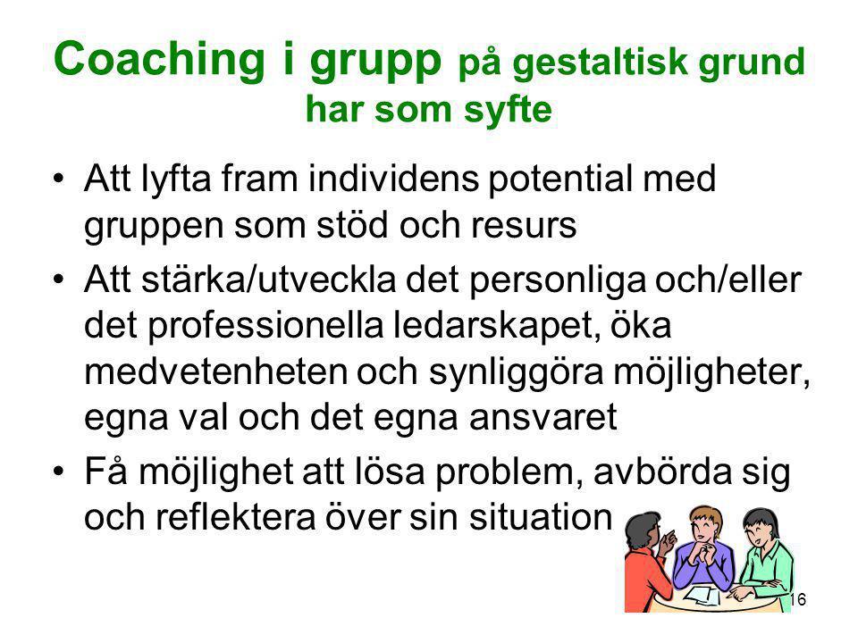 Coaching i grupp på gestaltisk grund har som syfte