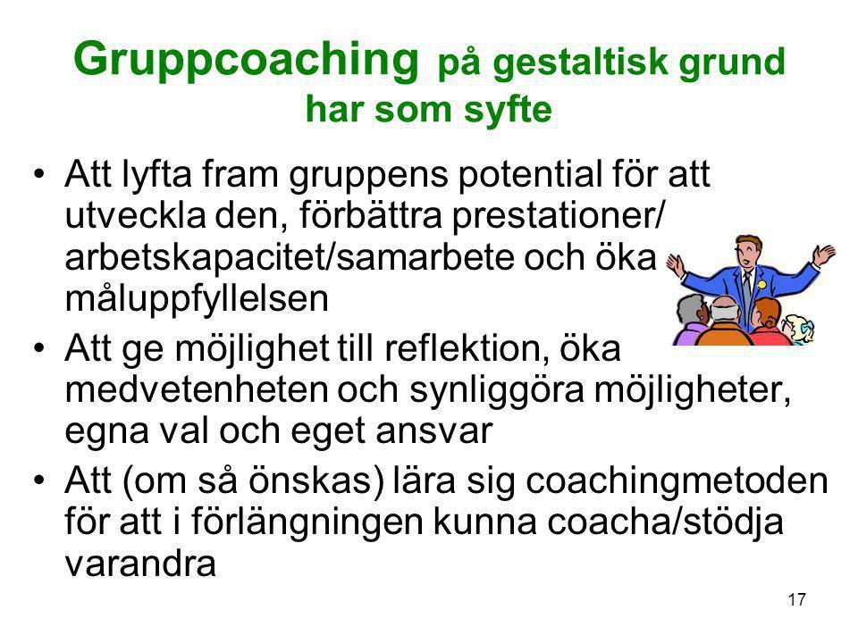 Gruppcoaching på gestaltisk grund har som syfte