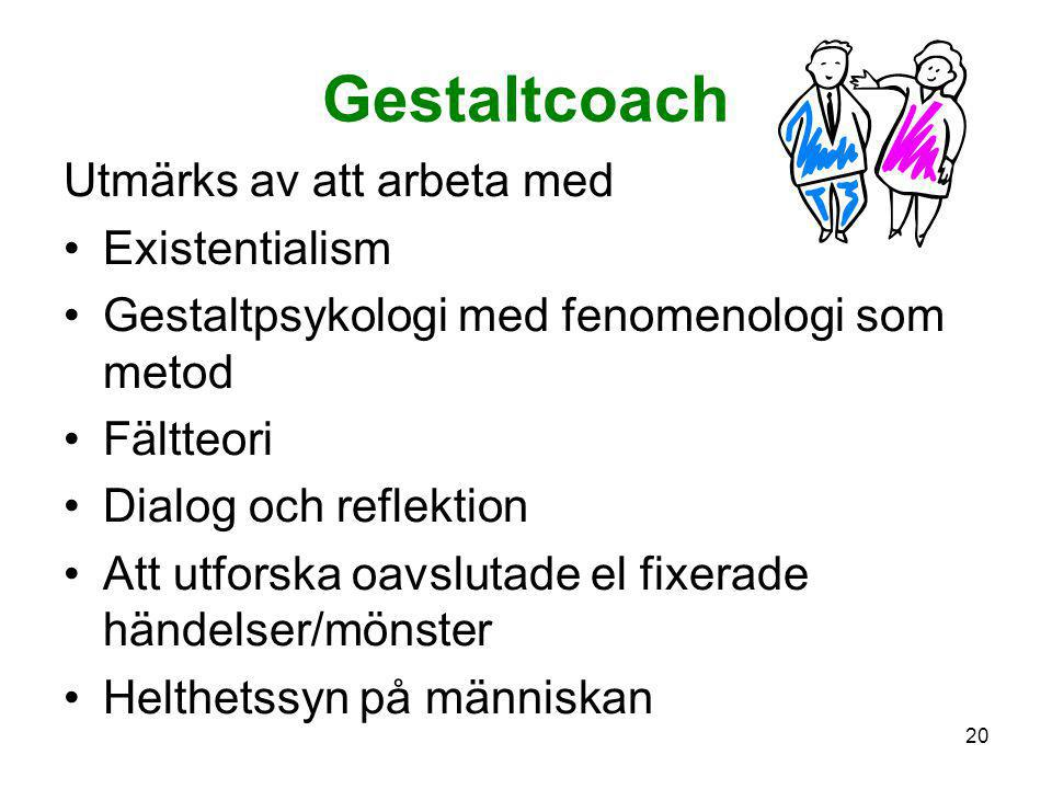 Gestaltcoach Utmärks av att arbeta med Existentialism