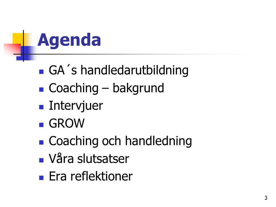 Agenda GA´s handledarutbildning Coaching – bakgrund Intervjuer GROW