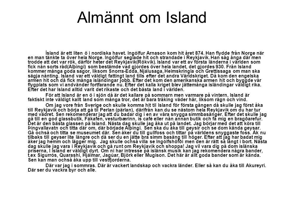 Almännt om Island