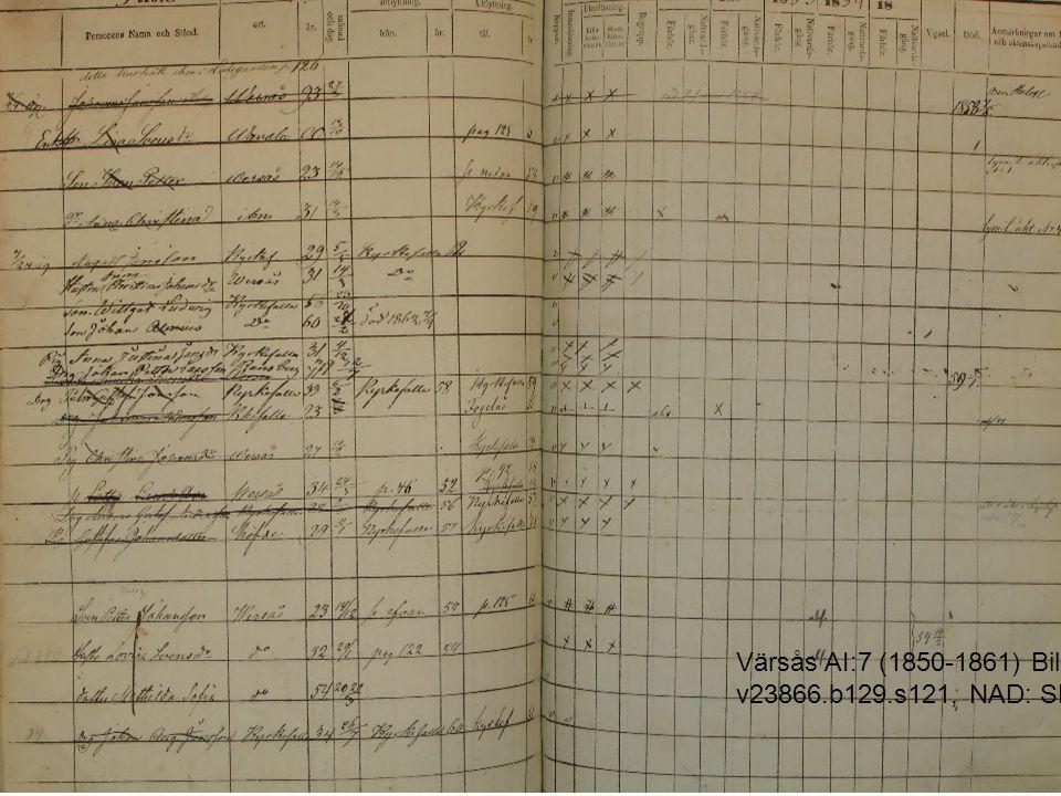Värsås AI:7 (1850-1861) Bild 129 / sid 121 (AID: v23866. b129