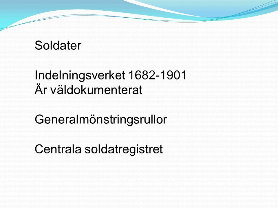 Soldater Indelningsverket 1682-1901. Är väldokumenterat.
